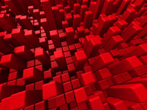 Abstract Red Cube Blocks Background. 3d Render Illustration Stock Photo