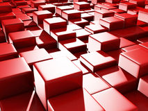 Abstract Red Cube Blocks Background. 3d Render Illustration Stock Image