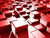 Abstract Red Cube Blocks Background. 3d Render Illustration stock illustration