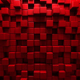 Abstract Red Cube Blocks Wall Background Royalty Free Stock Photography
