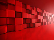 Abstract Red Cube Blocks Wall Background. 3d Render Illustration Stock Photography