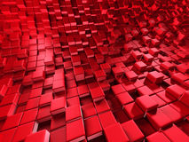 Abstract Red Cube Blocks Wall Background Stock Images