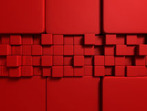 Abstract Red Cube Blocks Wall Background Royalty Free Stock Photo