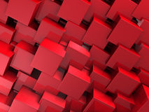 Abstract Red Cube Blocks Wall Background. 3d Render Illustration Stock Photo