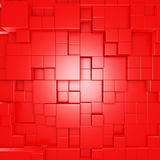 Abstract Red Cube Blocks Wall Background. 3d Render Illustration Royalty Free Stock Image