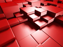 Abstract Red Cube Blocks Wall Background. 3d Render Illustration Royalty Free Stock Photo