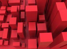 Abstract red cube city. 3D rendered illustration of an abstract cube city. The cubes are colored in red Stock Image