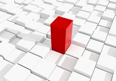 Abstract red cube on white cubic background 3D rendering.  Royalty Free Stock Photography