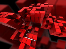 Abstract red cubes. Abstract 3d illustration with red cubes and blocks stock illustration
