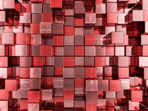 Abstract red cubes background. Abstract background formed from red cubes. 3D illustration Royalty Free Stock Photography