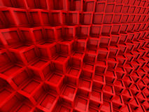Abstract Red Cubes Blocks Wall Background. 3d Render Illustration stock illustration
