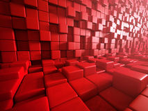Abstract Red Cubes Blocks Wall Background. 3d Render Illustration vector illustration