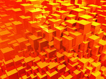 Abstract red cubes. 3d illustration. Royalty Free Stock Photography