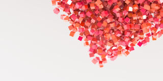 Abstract red cubes three dimensional background Royalty Free Stock Photos