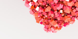 Abstract red cubes three dimensional background Stock Photos