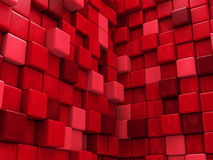 Abstract Red Cubes Wall Background Stock Photos