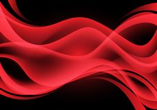 Abstract red curve wave light on black vector stock illustration