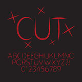 Abstract Red Cut Alphabet and Digit Vector Royalty Free Stock Photography