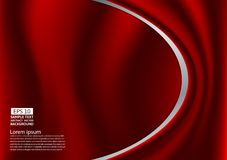 Abstract red design of curves or cloth or liquid wave illustration background.  Stock Image