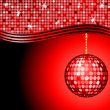 Abstract red disco ball. On a red mosaic background Vector Illustration
