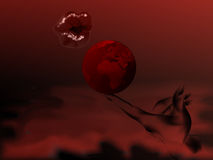 Abstract red dream. Abstract illustration red nuanced with a hand who hold the earth globe and woman lips Stock Images