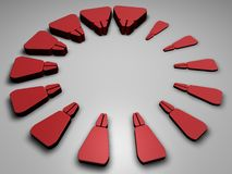 Abstract Red Elements. Arranged in a circle getting smaller as they go Royalty Free Stock Photos