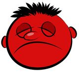 Abstract red face of a sick person. Icon Stock Image