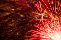 Abstract red fireworks. Red fireworks zoomed in shot royalty free stock images