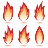 Abstract Red Flame Icon. Set isolated on a white background. Illustration Stock Image