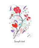Abstract red floral doodle decorative greeting card vector Stock Image