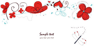 Abstract red floral doodle decorative greeting card vector Stock Photo