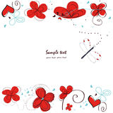 Abstract red floral doodle decorative greeting card vector Royalty Free Stock Photography