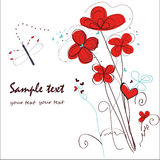 Abstract red floral doodle greeting card Royalty Free Stock Image