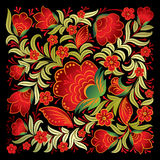Abstract red floral ornament  on black Stock Photos