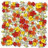 Abstract red floral ornament on white Stock Image