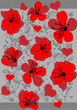 Abstract red floral pattern background Royalty Free Stock Images