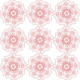 Abstract red flowers pattern. Red abstract flowers on the white backdrop. Digital background vector seamless pattern print Royalty Free Stock Photo