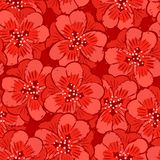 Abstract red flowers seamless pattern Stock Photography