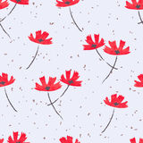 Abstract red flowers seamless pattern. Vector floral background Stock Photos