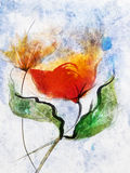 Abstract red flowers watercolor paintings Stock Photos