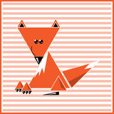 Abstract red fox. Illustration of abstract red fox on the striped background Royalty Free Stock Photography