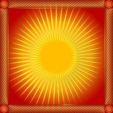 Abstract red frame with sun (vector). Abstract red and yellow frame with sun (vector Stock Photo