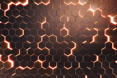 Abstract red of futuristic surface hexagon pattern with light rays. 3D Rendering Stock Images