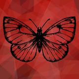Abstract red geometric background with butterfly Stock Photography