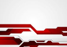 Abstract red geometric tech corporate design. Vector background Stock Photos