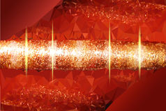 Abstract red glowing background with a gold rotati. Red background of polygons with abstract object and glowing rays Royalty Free Stock Photos