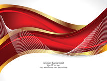 Abstract red & gold color wave background Royalty Free Stock Photography