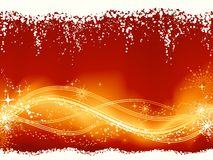 Abstract red golden wavy pattern. Christmas background with a wavy line pattern at the bottom third embellished with stars, snow flakes, grunge elements Stock Photos
