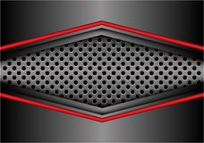 Abstract red gray metal arrow on circle mesh banner design modern futuristic background vector. Illustration Royalty Free Stock Photos