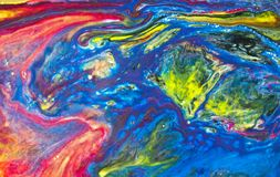 Abstract red green blue marble texture, acrylics art vector illustration
